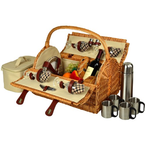 - Picnic at Ascot Yorkshire Willow Picnic Basket with Service for 4 with Blanket- Designed, Assembled & Quality Approved  in the USA