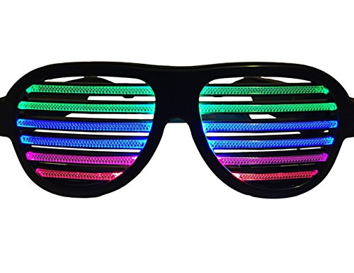 FLYMEI USB Rechargeable LED Light Up Shutter Shaded Glasses, Music & Sound Reactive Flashing Funny Party Glasses Slotted Sunglasses Eyewear for Clubbing Rave Birthday Disco Dubstep Party (Black)