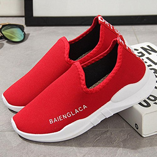 tefamore Chaussures Rouge Ventilation Solid Sport De Mesh Women Nouveau Shoes Course 6r6Haqx