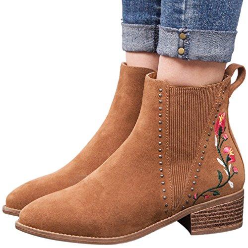 Ankle Heel Slip Khaki08 Martin Comfotable Women Chunky Side Mid Bootise Zipper Boot On Elastic B6C5wfXqx5