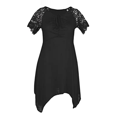 Creazydog Creazy Women Plus Size S-5XL Women Irregular Hem Short Sleeve Loose Shirt (L, Black)