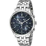[Sponsored]Men's Eco-Drive Chronograph Stainless Steel Watch with Date, AT2141-52L