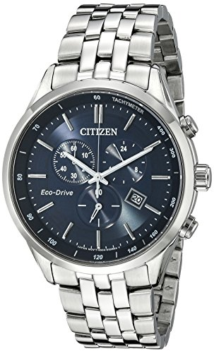Water Resistant Sapphire Crystal Watch - Citizen Men's Eco-Drive Chronograph Stainless Steel Watch with Date, AT2141-52L