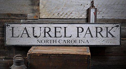 Vintage LAUREL PARK, NORTH CAROLINA - Rustic Hand-Made Wooden USA City Sign - 9.25 x 48 - Place Laurel Park