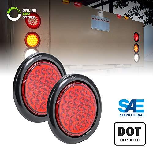 2pc 4 Red Round LED Trailer Tail Light Kit [DOT FMVSS 108] [SAE STI] [24 LED] [Grommet & Plug Included] [IP67 Waterproof] [Stop Turn Tail] Trailer Brake Lights for Boat Trailer RV Trucks