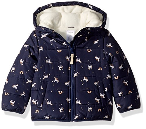 Carter's Baby Girls Fleece Lined Puffer Jacket Coat, Unicorn Navy, 18M by Carter's (Image #1)