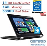 Lenovo Flex 4 14-inch HD Touchscreen 2-IN-1 Convertible Laptop PC, Intel Pentium Processor, 4GB RAM, 500GB HDD, HDMI, Bluetooth, up to 8.5 hours battery life, Windows 10 (Certified Refurbished)