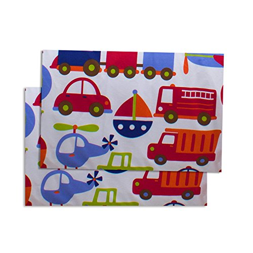 Bacati Crib Fitted Sheet, Transportation Multicolor Printed (Pack of 2)