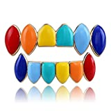 MOLEK Gold Silver Plated Colorful Rainbow Hip Hop Grillz Set Vampire Fangs Top and Bottom 6ix9ine Teeth Grills (Gold)