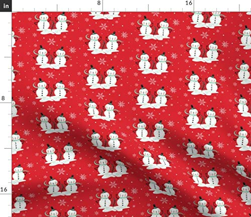 (Snowmen Fabric - Vintage Retro Kitsch Winter Holiday Snowman Christmas Holiday Snow Snowflake Whimsical Snowmen by Johannaparkerdesign Printed on Organic Cotton Knit Ultra Fabric by The Yard)