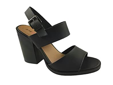 c65debffaaa LADIES FAUX LEATHER FASHION STRAPPY SANDALS BLOCK HEEL BLACK SIZE 3-9  (5.5)  Amazon.co.uk  Shoes   Bags