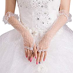 Sixinu Womens Lace Mesh Bridal Gloves Fingerless Elbow Length Long Gloves Wedding Party
