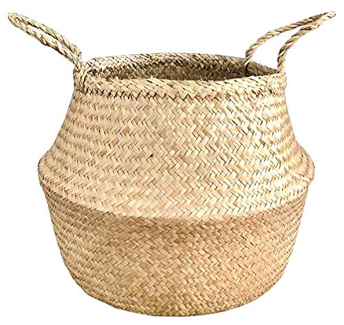 La Maia Medium Natural Seagrass Belly Plant Basket with Handles Woven Planter Basket for Storage, Laundry, Picnic, and Beach Bag (Medium, Natural Seagrass)