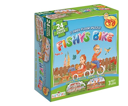 Fishy's Bike and House, 2 Sided Jigsaw Floor Puzzle. 24 pieces, 3 feet long. perfect gift for Jewish toddles, kids, boys and girls ages 2-6. By Farbreng Toys ()