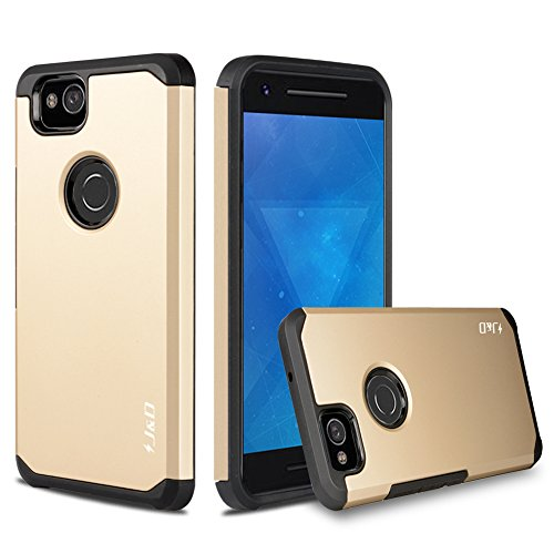 J&D Case Compatible for Pixel 2 Case, Heavy Duty [Dual Layer] Hybrid Shock Proof Protective Rugged Bumper Case for Google Pixel 2 Case - [Not for Google Pixel 2 XL] - Gold