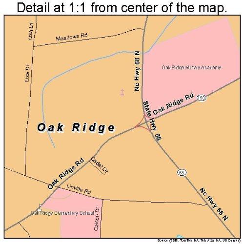 Oak Ridge Nc Map.Amazon Com Large Street Road Map Of Oak Ridge North Carolina Nc