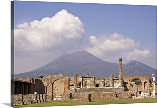Wendy Kaveney Gallery-Wrapped Canvas entitled Italy, Campania, Pompeii, Temple of Jupiter with Mount Vesuvius in the background by greatBIGcanvas