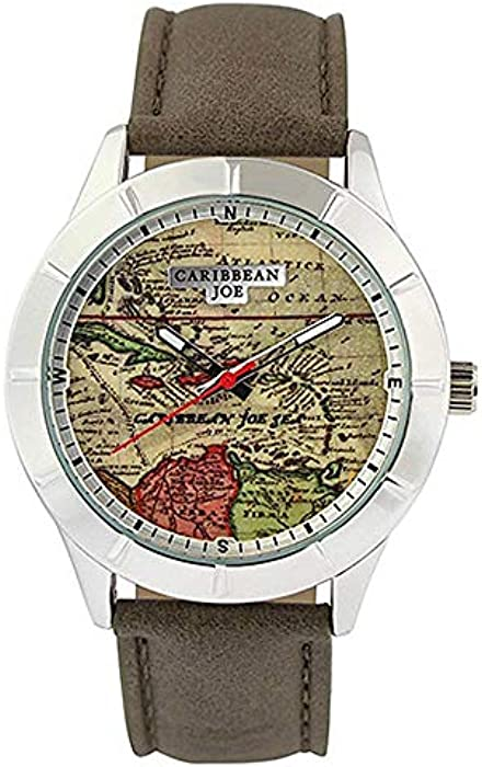Amazon.com: Caribbean Joe Mens Map Dial Strap Watch One Size Taupe Brown Multi: Watches