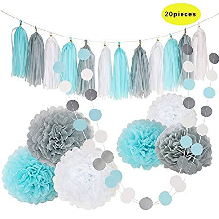 edbetos bebé azul blanco gris Baby Boy Baby Shower/de papel ...