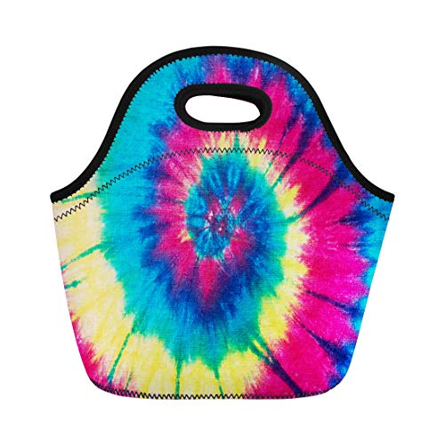 - Semtomn Neoprene Lunch Tote Bag Blue Hippie Rainbow Spiral Tie Dye Pattern Abstract Colorful Reusable Cooler Bags Insulated Thermal Picnic Handbag for Travel,School,Outdoors,Work