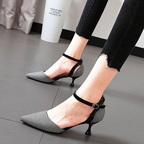 Xue Qiqi Qiqi Qiqi Elegante Sandalette mit High Heels feine Raster header gespitzt geschlitzten Riegel Sandalen Weiblich feb39e
