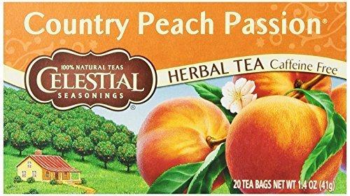 Celestial Seasonings Herbal Tea, Country Peach Passion, 20 Count (Pack of 3) - Free Tea Caffeine Peach