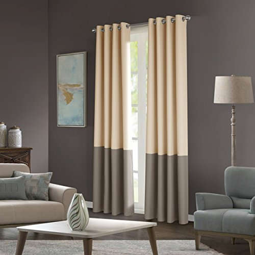 Dreaming Casa Color Block Two Tones Room Darkening Curtains 84 inches Long for Bedroom Window Treatment Grommet Top Drapes 2 Panels Beige & Taupe 52''W X 84''L
