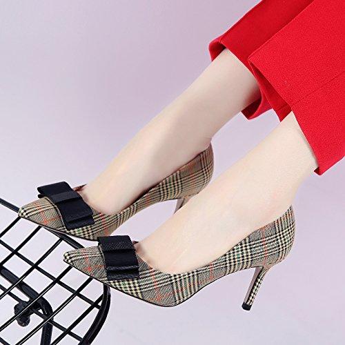 GTVERNH-Süße Schmetterling Knoten Karierten Denim Starken Kopf Flachen Einzigen Schuh Schuh Schuh Gut Bei 7.5Cm Schuhe Im Frühjahr Und Herbst Damenschuhe 37 Gelb 4ac921