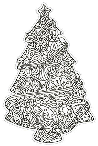 Christmas Tree Die Cut Coloring Card - Paper House Blank Note Card ()