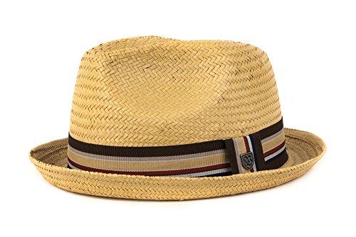 Brixton Men's Castor Straw Fedora Hat, Tan 15, Large