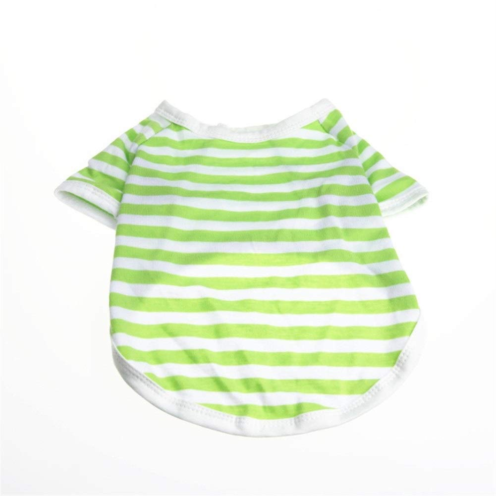 LovelyPet Pet Clothes Spring and Summer Pet Clothing Casual Striped Breathable Teddy Dog Vest (Color : Green, Size : XS)