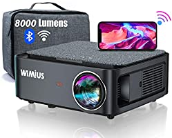 WiMiUS プロジェクター 8000lm WiFi Bluetooth5.0機能搭載 1920×1080ネガティブ解像度 4K対応 4ポイントデータ台形補正 50%ズーム ホーム ビジネス プロジェクター 300インチ大画面...