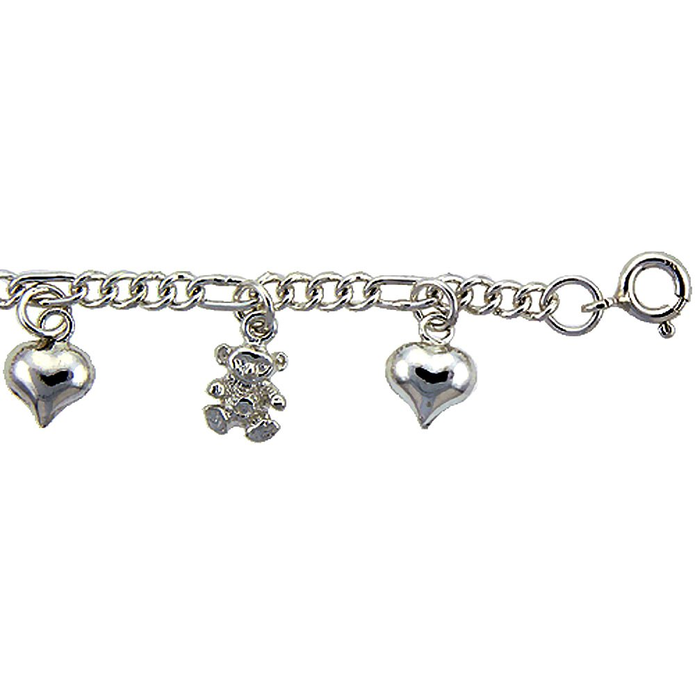Sterling Silver Hearts and Teddy Bears Charm Bracelet 14mm wide, fits 7-8 inch wrists