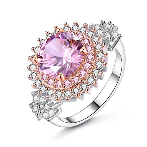 TEMEGO Women's Bloom Sunflower Two Tone Round Prong Created Canary Pink Moissanite Filled Cluster CZ Silver Plated Huge Statement Cocktail Promise (Canary Cocktail Ring)