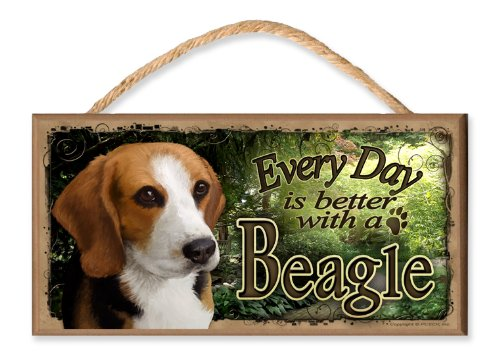 Every Day is Better With A Beagle (garden scene) Wooden Sign / Plaque featuring the Art of S. Rogers (Garden Beagle)