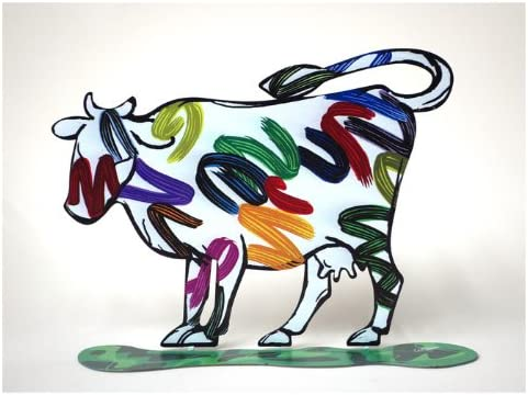 World Of Judaica David Gerstein Nava Cow Sculpture with Bright Painted Lines