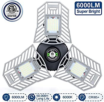 Amiluo Life 60W 6000 Lumens Deformable LED Garage Ceiling Light