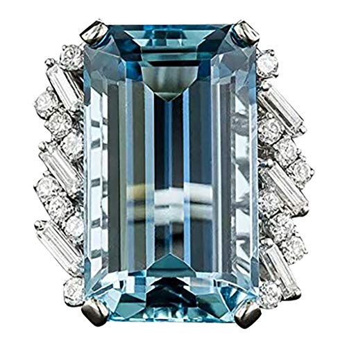 - Haluoo Women's Big Diamond Ring Silver Asscher Cut Cubic Zirconia CZ Solitaire Engagement Ring Gemstone Birthstone Topaz Eternity Statement Rings (7(Sterling Silver), Sky Blue)