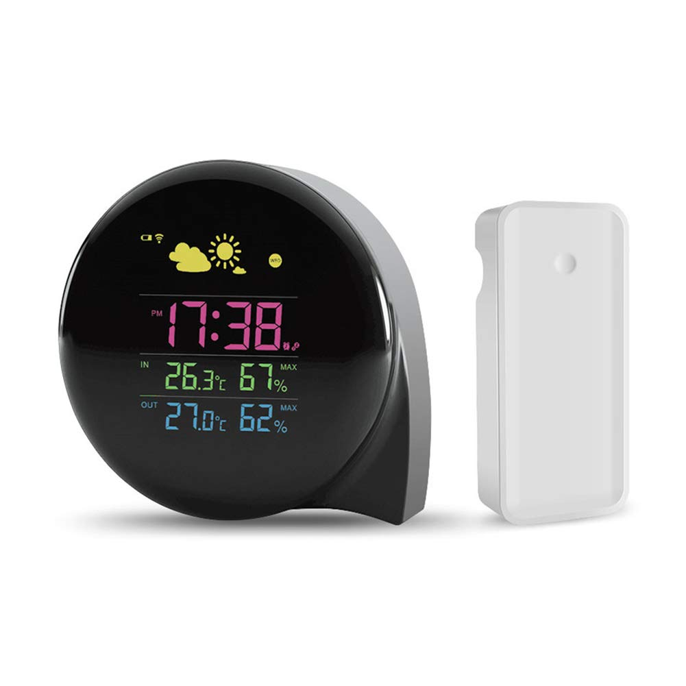 Traioy Mini Digital Weather Station Temperature and Humidity Meter LED Display with Forecast Sensor Clock Fashion Appearance, Suitable for Indoor and Outdoor