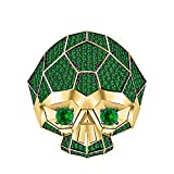 tusakha Men's & Women's 14K Yellow Gold Plated 3.50 ctw Created Emerald Half Jaw Skull Ring