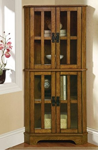 Corner Curio Cabinet Rustic Kitchen Organizer Storage Shelf China Display Etegere Farmhouse Brown ()