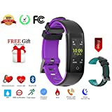 Today 50% Off! Fitness Tracker Color Display colorful UI touch screen with Heart Rate Monitor Blood Pressure Sleep Monitor IP67 Waterproof Bracelet Wristband for iOS/Android (purple+black)