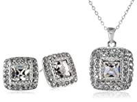 "Sterling Silver and White Swarovski Crystal Square Stud Earrings and Pendant Necklace (18"") Jewelry Set from PAJ, Inc"