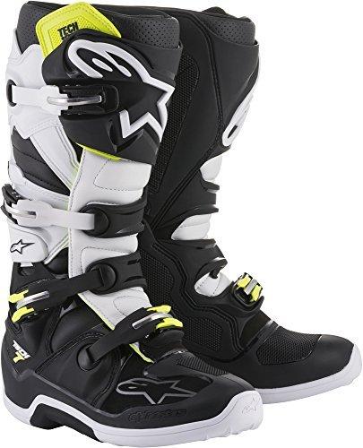 (Alpinestars Tech 7 Motocross Off-Road Motorcycle Boots, Black/White, Men's Size 11)