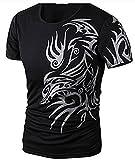 WHLTX Camisetas Y Tanques para Hombres Cuello Redondo Manga Corta Moda Dragón Imprimir Hombres Negro 3XL