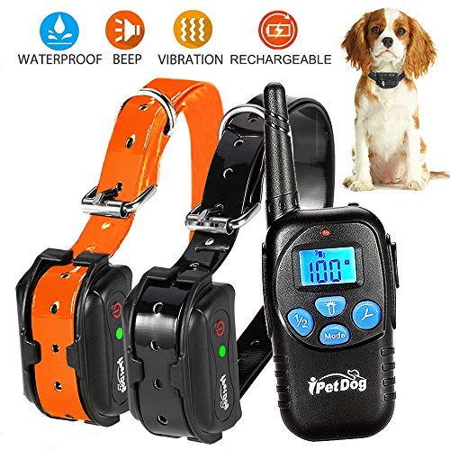 (Fettish Dog Training Collar Rechargeable & Waterproof Electric Remote Dog Shock Collar with LED Light Beep Vibration Safety Shock Modes for Small/Medium/Large Training Collars)