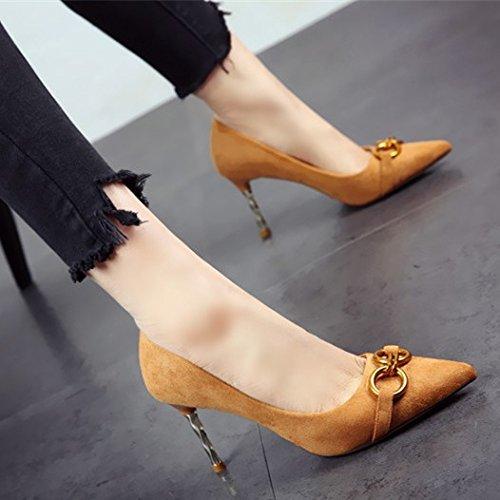 superficialmente partido mujer zapatos único elegante estilo FLYRCX europeo elegante suede temperamento tacones de La yellow afilados Zapatos g8xwSqH