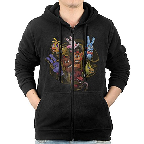 Kangaroo Song Costume (JLJK Men's Five Nights At Freddy Zip-Up Hoodies Jackets Black Size)
