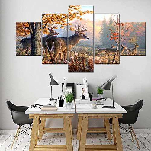 HD Canvas Print Deer Painting 5 Pcs/Set Animal Poster Pictures Autumn Maple -