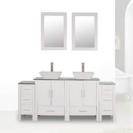 Excellent Homecart 72 Double Sink Bathroom Vanity Cabinet Combo Glass Top White Wood W 2 Basin Faucets Mirrors And Drains Download Free Architecture Designs Scobabritishbridgeorg